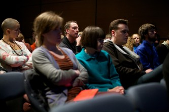 The shot of the audience during the discussion