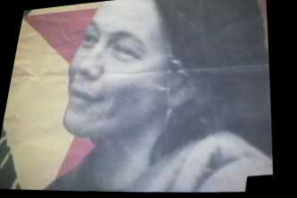 A shot of a screen showing Hito Steyrel film