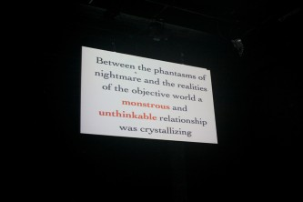 """A shot of a screen with text that begins, """"Beyond the phantasms..."""""""