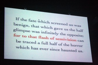 """A shot of a screen with text that begins, """"If the fate that screened us..."""""""