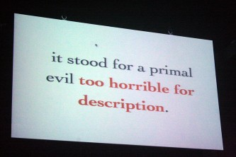 """A shot of a screen with text that ends, """"Too horrible for description...""""t"""