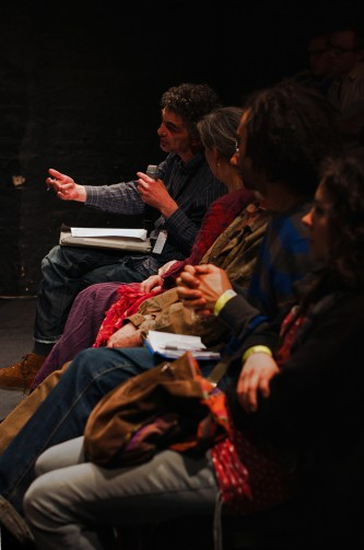 Howard Slater speaks from the audience at a discussion during Episode 4