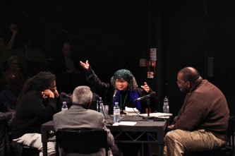 Sonia Sanchez, Fred Moten, Amiri Baraka, Wadada Leo Smith seated in discussion