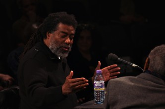 Wadada Leo Smith speaking during a discussion at Episode 4