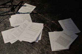 Scripts strewn on the floor after the performance