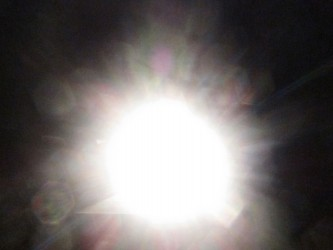 A direct shot of a strong light