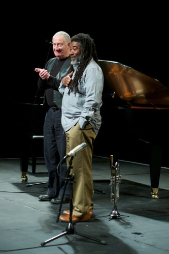 John Tilbury and Wadada Leo Smith smile together after the performance