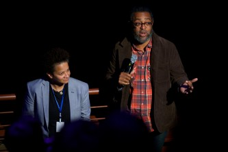 Kara Keeling and Arthur Jafa look towards the audience during a question