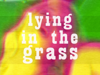 "The words ""lying in the grass"" over an image of a woman's face"