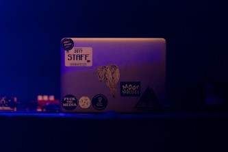 Moor Mother's laptop on stage on its own