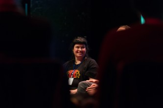 Cloudberry facilitating a discussion at EPISODE 9 in Tramway, Glasgow