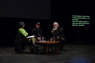 Samuel Delany says something that makes Jackie Wang laugh on stage