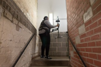 Sondra Perry films with a live feed camera for Resident Evil performance