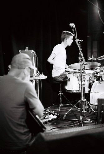 Dylan and Alex on stage in the arches