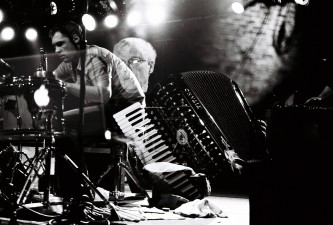 Double exposure image with Pauline Oliveros and Ingar Zach