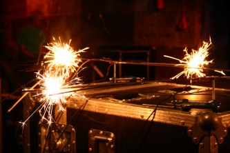 Close up of sparklers burning on stands