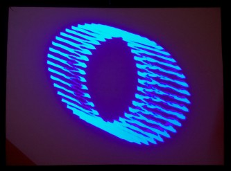 An image of a blue ring oscillating and overlapping
