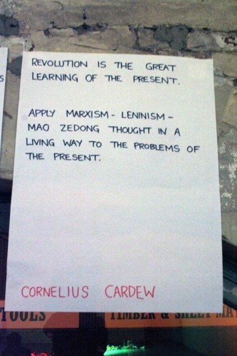 A Quotation from Cornelius Cardew posted on a wall