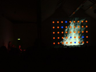 Musicians on the left in the dark, right is a screen with orange dots in a grid