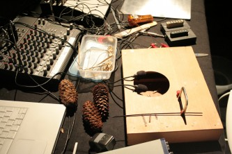 Some of Lee Patterson's sound making equipment: pine cones, boxes, wires etc
