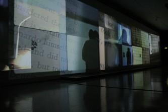 A long screen showing fragments of texts, images