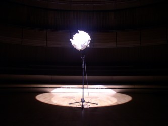 The microphone wrapped in paper along on the stage