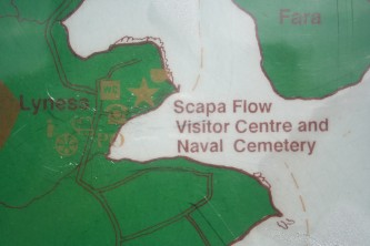 Map of Lyness and Scapa Flow in green and white