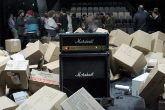 audience and amplifier and boxes