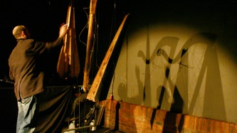 Rhodri Davies plays two suspended deconstructed weathered harps