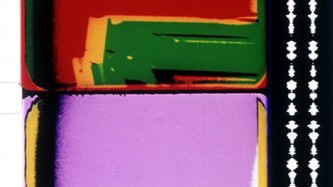 two frames of 16mm show blocks of intense colour, red, green, pink, yellow