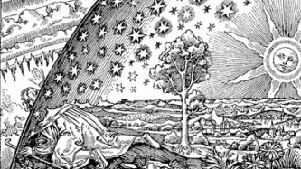 A medieval woodcut of the cosmos with the sun, stars and heavens
