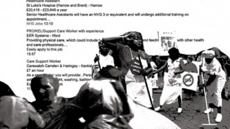 A B&W collage of workers with a list of healthcare jobs as the background