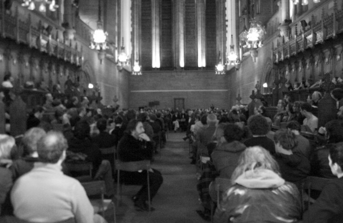 An audience in a chapel