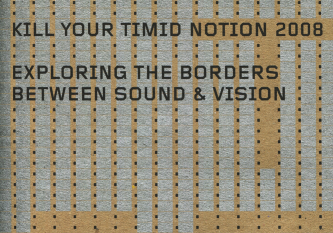 silver and brown design like 16mm film strips with text - Kill Your Timid Notion