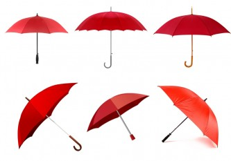 Six red umbrellas in a grid shape
