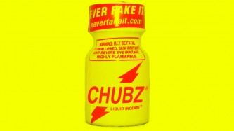 A design with a yellow background featuring a bottle of Chubz poppers
