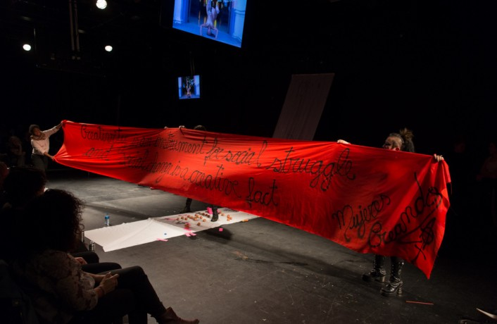 Mujeres Creando red banner says creativity is an instrument for social struggle
