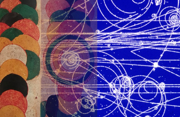 Two abstract images merge. Earth coloured circles. Traces of particle decay.