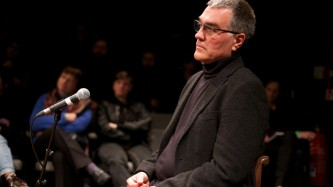 Thomas Metzinger dressed in black during an interview with Ray Brassier