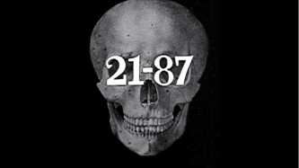 A drawing of skull has the numbers 21 - 87 in a serif font written over the eyes
