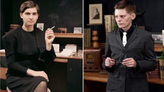 Two photos of women in 40's costume sat at an old desk