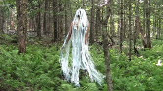 A figure with a long white wig floats in a fern covered forest floor